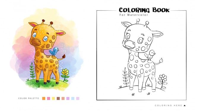 Livro de colorir de girafa bonitinha na floresta com ilustração em aquarela de pássaro azul