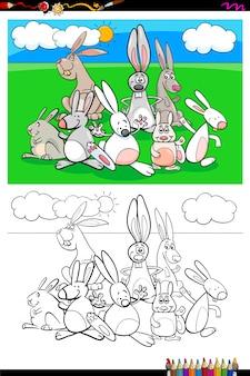 Livro de colorir de grupo de personagens animais de coelhos
