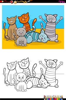Livro de colorir de grupo de personagens animais de gatos