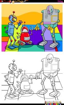 Livro de colorir de grupo de personagens de robô engraçado