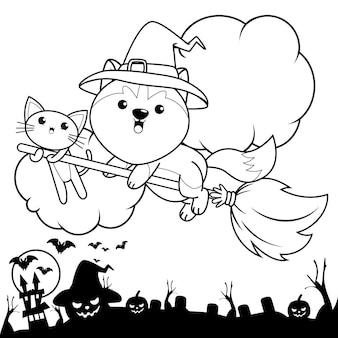 Livro de colorir de halloween com um lindo unicórnio 16