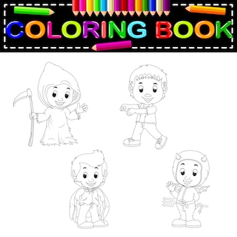 Livro de colorir de halloween de crianças Vetor Premium