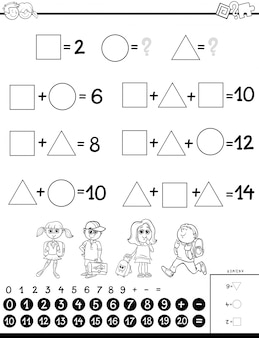 Livro de colorir de jogo educacional de cálculo