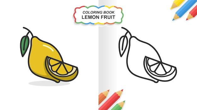 Livro de colorir de mão desenhada de fruta limão para a aprendizagem. cor lisa pronta para imprimir