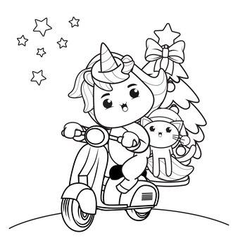 Livro de colorir de natal com lindo unicórnio 33