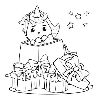 Livro de colorir de natal com um lindo unicórnio 11