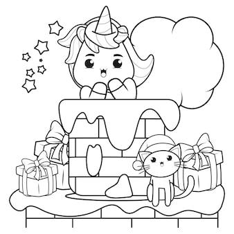 Livro de colorir de natal com um lindo unicórnio 19