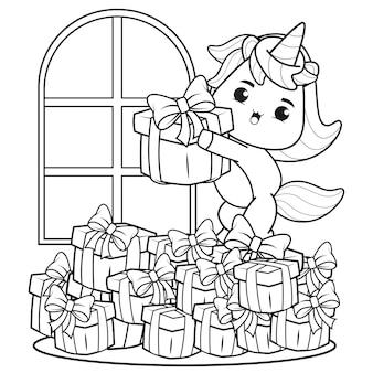 Livro de colorir de natal com um lindo unicórnio 25