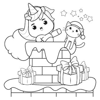 Livro de colorir de natal com um lindo unicórnio 27
