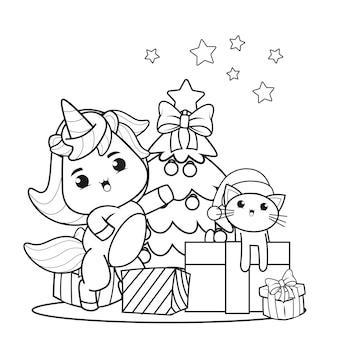 Livro de colorir de natal com um lindo unicórnio 28