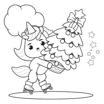 Livro de colorir de natal com um lindo unicórnio 38