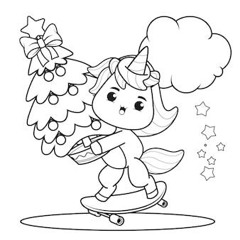 Livro de colorir de natal com um lindo unicórnio 47