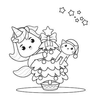 Livro de colorir de natal com um lindo unicórnio 48
