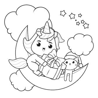 Livro de colorir de natal com um lindo unicórnio17
