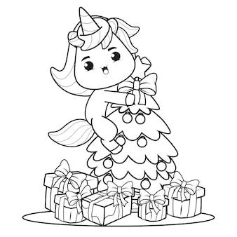 Livro de colorir de natal com unicórnio fofo 1