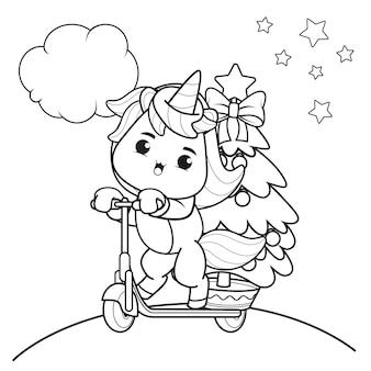 Livro de colorir de natal com unicórnio fofo 31