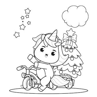 Livro de colorir de natal com unicórnio fofo 35
