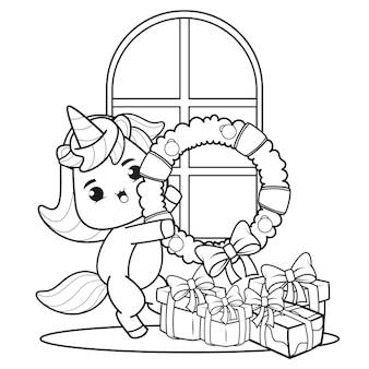 Livro de colorir de natal com unicórnio fofo 3