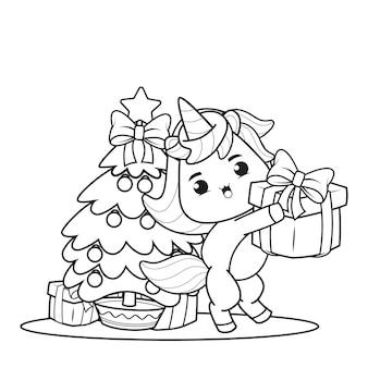 Livro de colorir de natal com unicórnio fofo 4