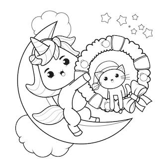 Livro de colorir de natal com unicórnio fofo 50