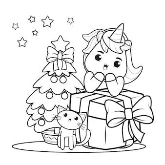 Livro de colorir de natal com unicórnio fofo 5
