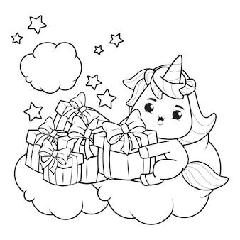 Livro de colorir de natal com unicórnio fofo 6