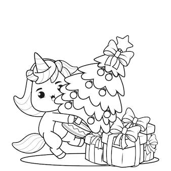 Livro de colorir de natal com unicórnio fofo 7