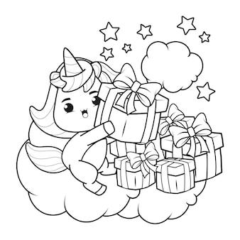 Livro de colorir de natal com unicórnio fofo9