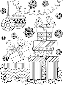 Livro de colorir de natal de vetor para adultos. desenho de fantasia de doodle de inverno em um fundo branco