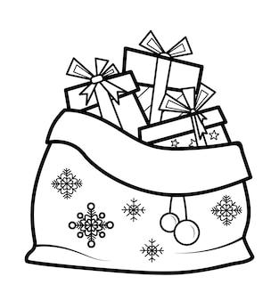 Livro de colorir de natal ou página para crianças. bolsa de natal com ilustração em vetor presentes em preto e branco