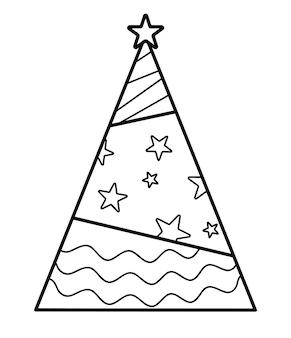 Livro de colorir de natal ou página para crianças. ilustração em vetor árvore de natal em preto e branco