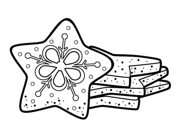 Livro de colorir de natal ou página para crianças. ilustração em vetor biscoitos de natal em preto e branco