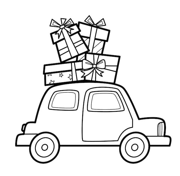 Livro de colorir de natal ou página para crianças. ilustração em vetor carro e presentes em preto e branco