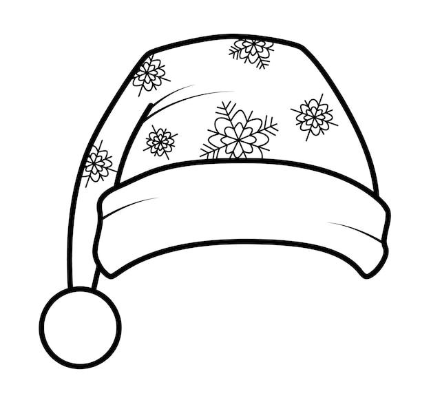 Livro de colorir de natal ou página para crianças. ilustração em vetor chapéu de papai noel em preto e branco
