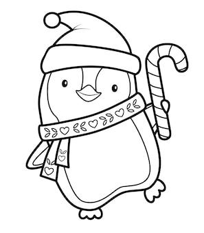 Livro de colorir de natal ou página para crianças. ilustração em vetor pinguim de natal em preto e branco