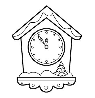 Livro de colorir de natal ou página para crianças. ilustração em vetor relógio preto e branco