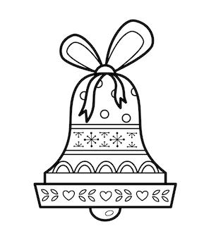 Livro de colorir de natal ou página para crianças. ilustração em vetor sino de natal em preto e branco