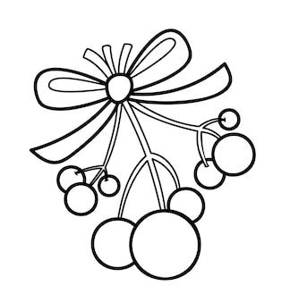 Livro de colorir de natal ou página para crianças. ilustração em vetor viscum e bagas preto e branco