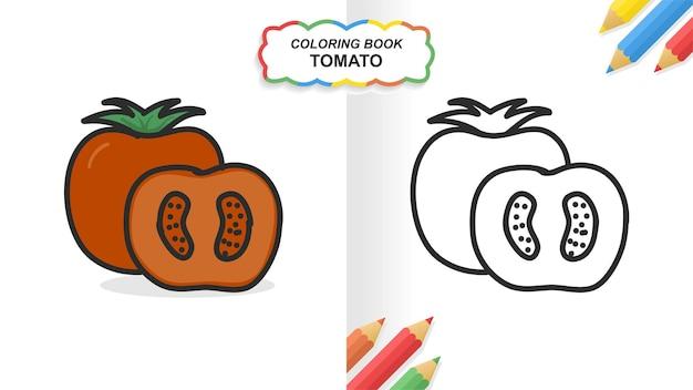Livro de colorir de tomate mão desenhada para aprender. cor lisa pronta para imprimir