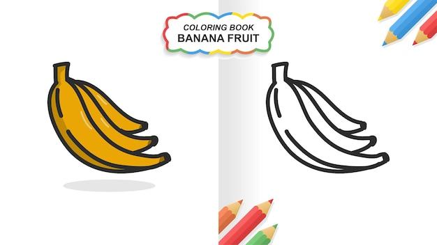 Livro de colorir desenhado de mão de fruta banana para a aprendizagem. cor lisa pronta para imprimir