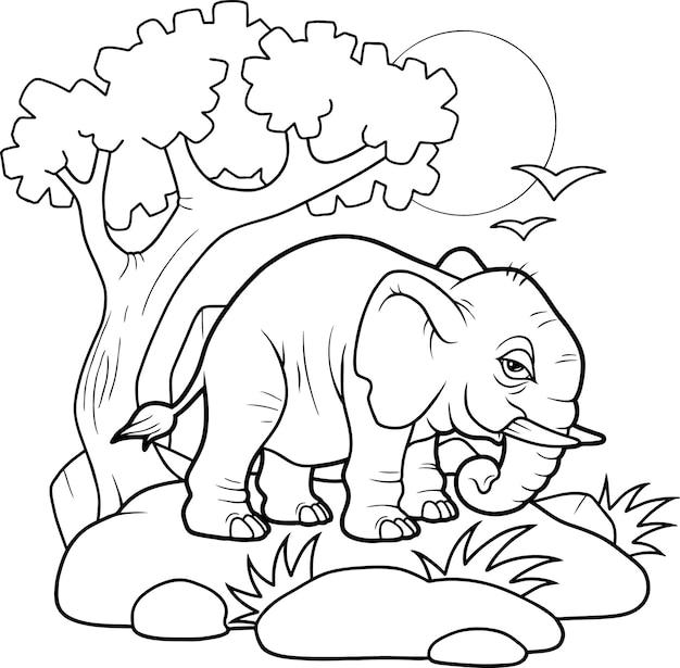 Livro de colorir desenho animado de elefante