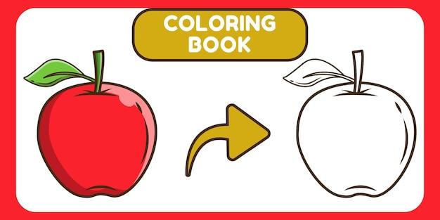 Livro de colorir desenho animado desenhado à mão de maçã kawaii para crianças