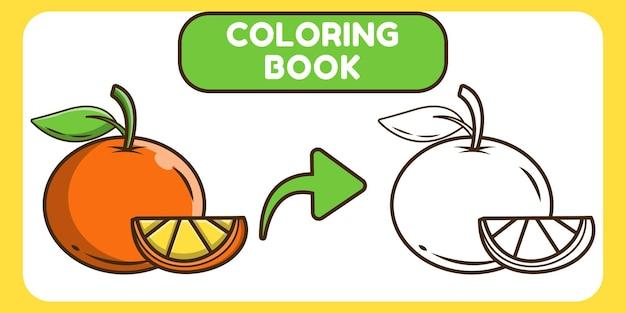 Livro de colorir desenho animado desenhado à mão laranja kawaii para crianças