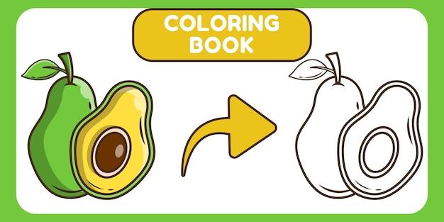 Livro de colorir desenho animado kawaii abacate desenhado à mão para crianças