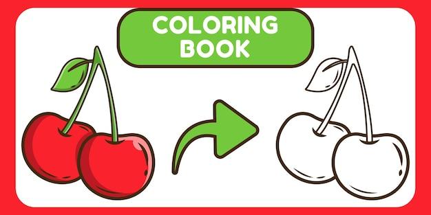 Livro de colorir desenho de cereja para crianças.