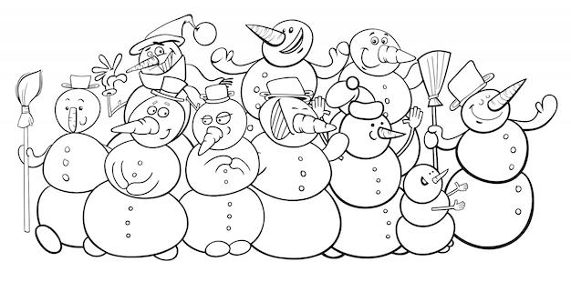 Livro de colorir desenhos animados de grupo de bonecos de neve