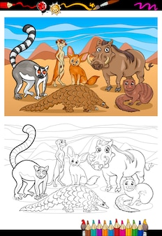 Livro de colorir desenhos animados de mamíferos africanos
