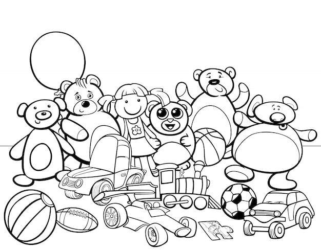 Livro de colorir desenhos animados para grupos de brinquedos
