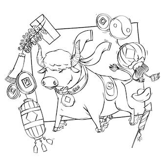 Livro de colorir do boi para a celebração do ano novo chinês