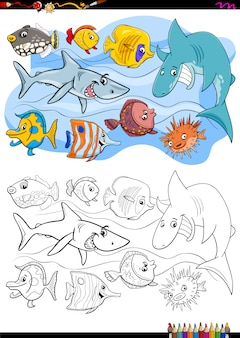 Livro de colorir do grupo de personagens animais de peixe